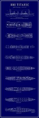 R. M. S. Titanic Steam Ship Blueprint Poster