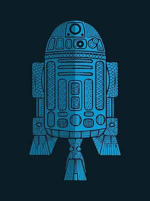 R2d2 - Star Wars Art - Blue 2 Poster