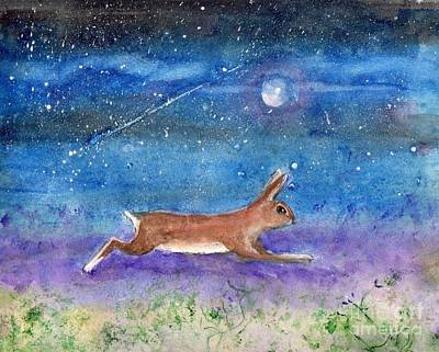 Poster featuring the painting Rabbit Crossing The Galaxy by Doris Blessington