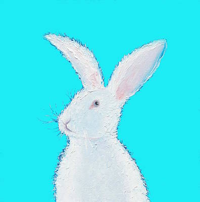 Rabbit Painting - White Bunny On Blue Poster by Jan Matson