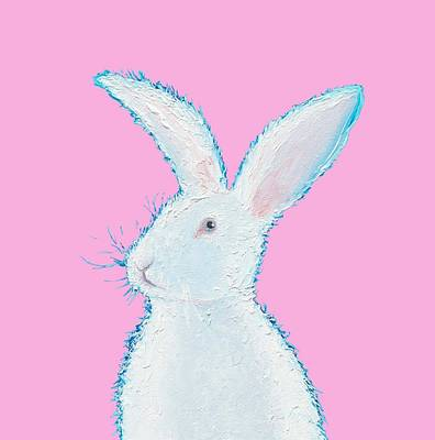 Rabbit Painting - White Bunny On Pink Poster by Jan Matson