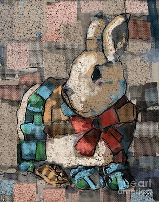 Poster featuring the painting Rabbit Socks by Carrie Joy Byrnes