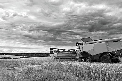 Race Against Time - Harvesting Before The Storm In Black And White Poster by Gill Billington