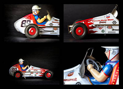 Race Car Collage Poster by Rudy Umans