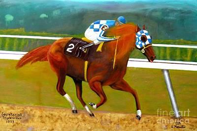 Race Horse Secretariat Triple Crown Winner 1973 Original Oil Painting  Poster