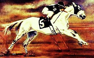 Racehorse 5 Orange Yellow Poster by Bets Klieger