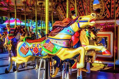 Racing Carrousel Horse Poster
