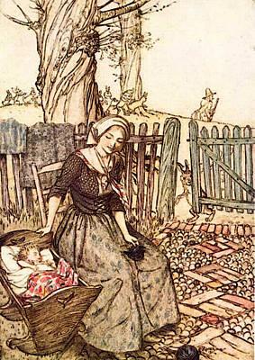 Rackham Arthur Mother Goose Bye Baby Bunting Poster by Arthur Rackham
