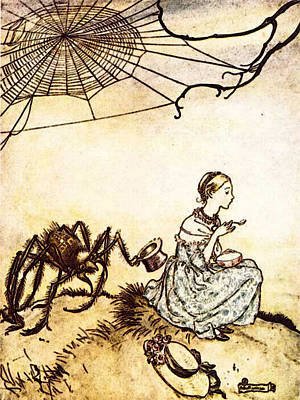 Rackham Arthur Mother Goose Little Miss Muffet Poster by Arthur Rackham