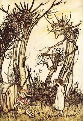 Rackham Arthur Mother Goose Man In The Wilderness Poster by Arthur Rackham