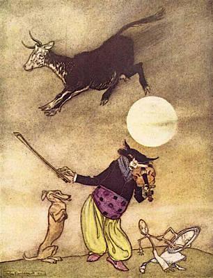 Rackham Arthur Mother Goose The Cow Jumped Over The Moon Poster by Arthur Rackham