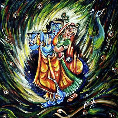Poster featuring the painting Radhe Krishna by Harsh Malik