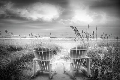Radiant Black And White Chairs At The Sea Poster