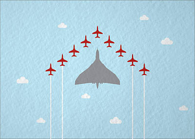 Raf Red Arrows In Formation With Vulcan Bomber Poster