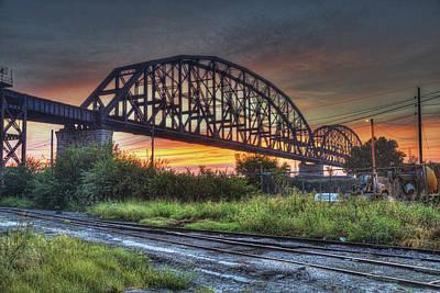 Railroad Bridge At Dawn Poster by Bill Klingsick