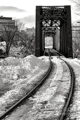 Railroad Bridge In Winter Poster by Olivier Le Queinec