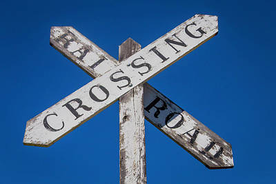 Railroad Crossing Wooden Sign Poster