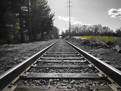 Railroad Tracks Bw Poster