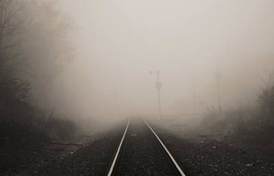 Railroad Tracks In Fog Poster by Dan Sproul