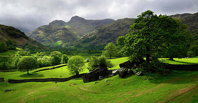 Rain Clouds Over The Langdale Pikes Poster by Christopher Drabble