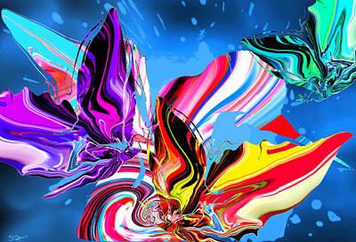 Rain Dancing Butterflies With Hummingbird Poster by Abstract Angel Artist Stephen K
