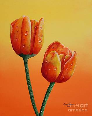 Rain Drop Tulips Poster by Louise Williams