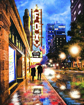 Poster featuring the mixed media Rain Falling On Peachtree Street - Atlanta by Mark Tisdale