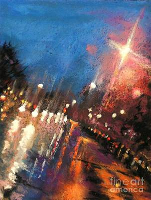Rain On The Hill - Grosse Pointe Poster by Shelley Schoenherr