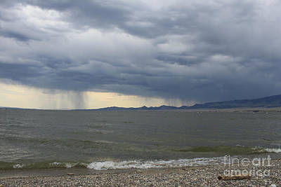 Rain Over Canyon Ferry Poster by Carolyn Brown
