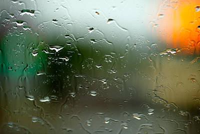 Rain Soaked Glass Window Poster