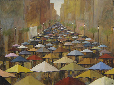 Poster featuring the painting Rain Street by Glenn Quist