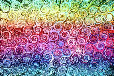 Rainbow Abstract Swirls Poster