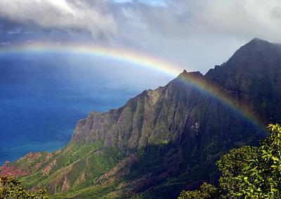 Rainbow Along The Na Pali Coast Kauai Hawaii From The Kalalau Lookout Poster by Brendan Reals