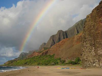 Rainbow At Kalalau  Poster by Ileana Carreno