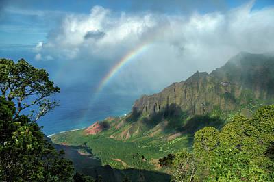 Rainbow At Kalalau Valley Poster by James Eddy