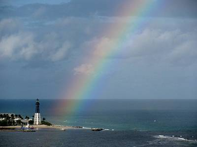 Rainbow At Lighthouse Poster