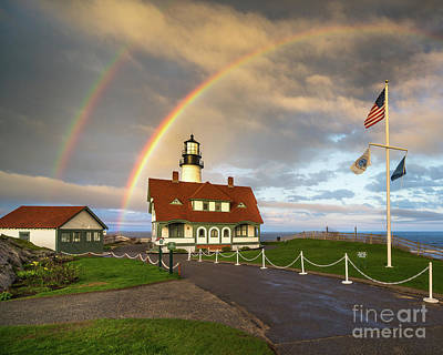 Rainbow At Portland Head Light Poster by Benjamin Williamson