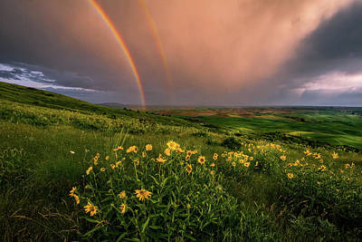 Rainbow At Steptoe Butte Poster