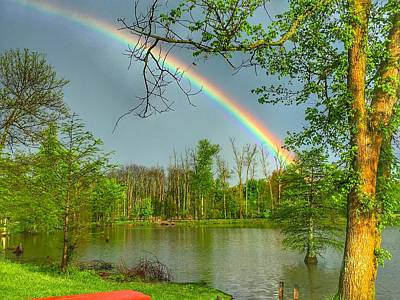 Rainbow At The Lake Poster