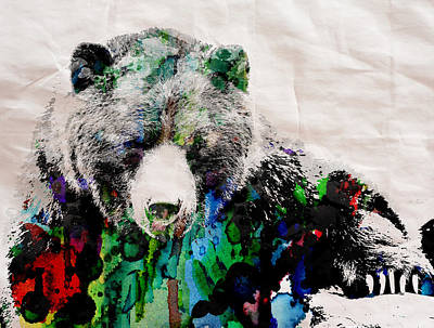 Rainbow Bear Watercolor Print Poster Poster