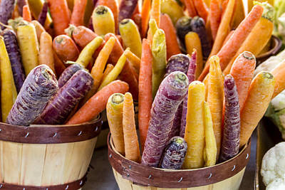 Rainbow Carrots At The Market Poster by Teri Virbickis