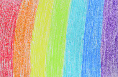Rainbow Crayon Drawing Poster by GoodMood Art