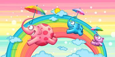 Rainbow Elephants Poster by Tooshtoosh