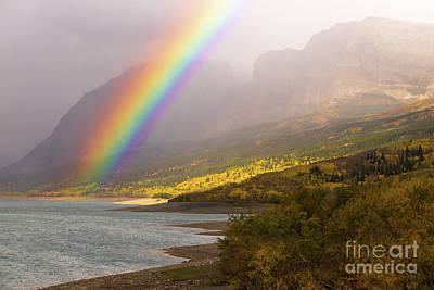 Rainbow Fall Color Sherburne Lake Many Glacier National Park Mon Poster