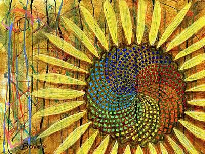 Rainbow Fibonacci Sunflower Poster by Julie Bovee