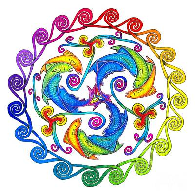 Rainbow Fish Spiral Poster by Rebecca Wang