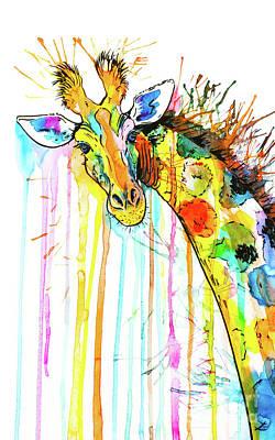 Poster featuring the painting Rainbow Giraffe by Zaira Dzhaubaeva