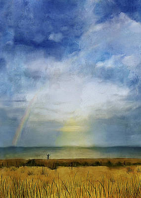 Rainbow Greeting Poster by Peggy Kahan