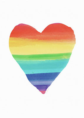 Rainbow Heart- Art By Linda Woods Poster by Linda Woods