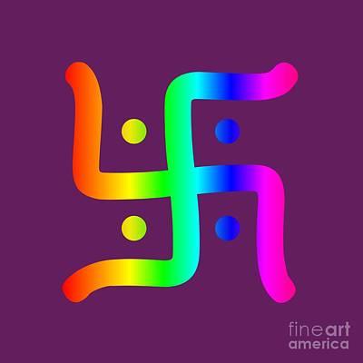 Rainbow Hindu Swastika Poster by Frederick Holiday